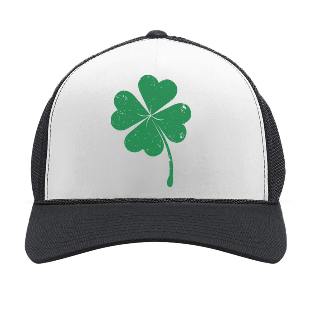 St. Patrick's Day Shamrock Irish Green Four-leaf clover Trucker Hat Mesh Cap - black/white