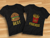 Best Friends Set BFF Shirt Set Burger & Fries Junk-food Matching Women T-Shirts