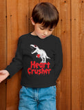 Heart Crusher T-Rex Love Valentine's Day Gift Toddler Kids Long sleeve T-Shirt