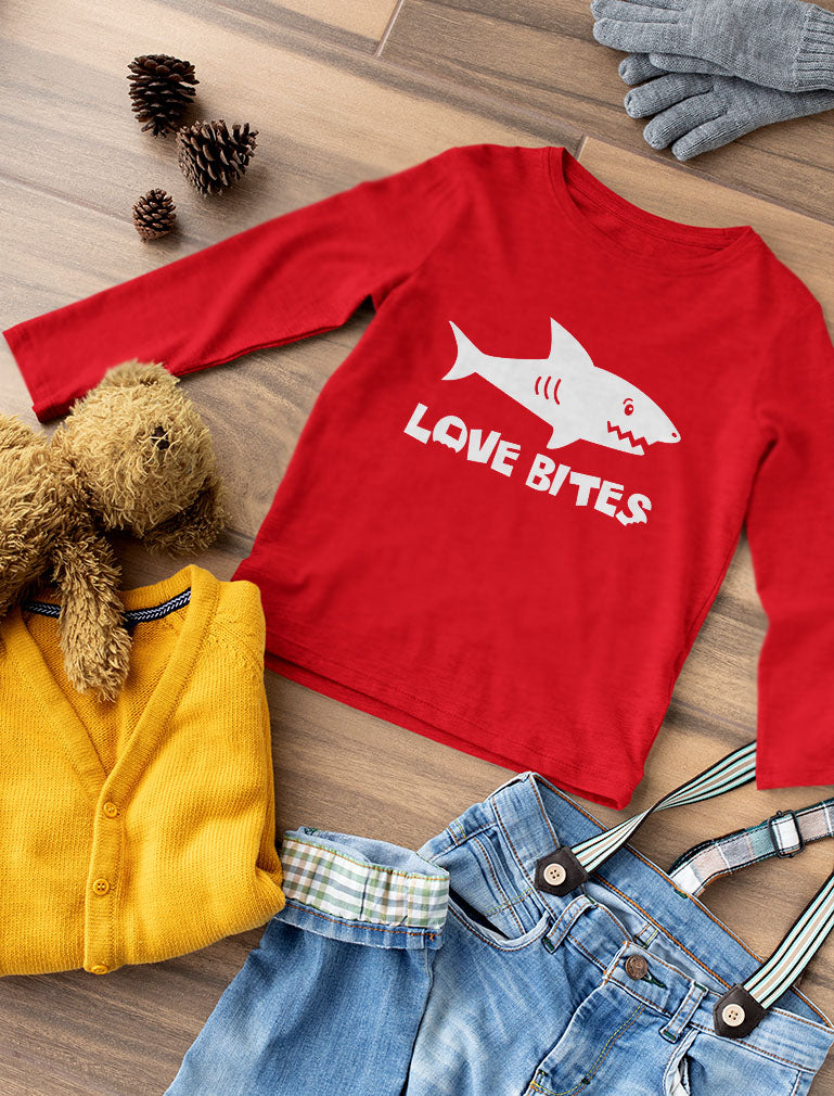 Shark Love Bites Funny Valentine's Day Gift Youth Kids Long Sleeve T-Shirt