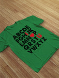 Valentine's Day Gift Alphabet ABC I Love You Toddler Kids T-Shirt