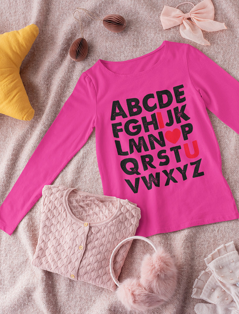 Valentine's Day Gift Alphabet ABC I Love You Toddler Kids Long sleeve T-Shirt
