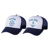 Funny Captain & First Mate Nautical Sailing Matching Mesh Caps Couples Gift Set