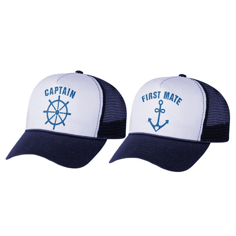 Tstars tshirts Funny Captain & First Mate Nautical Sailing Matching Mesh Caps Couples Gift Set