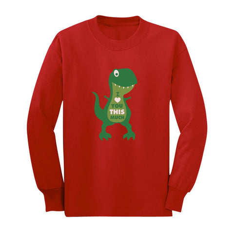 Tstars tshirts Valentine's Day I Love You This Much T-Rex Toddler/Kids Long sleeve T-Shirt