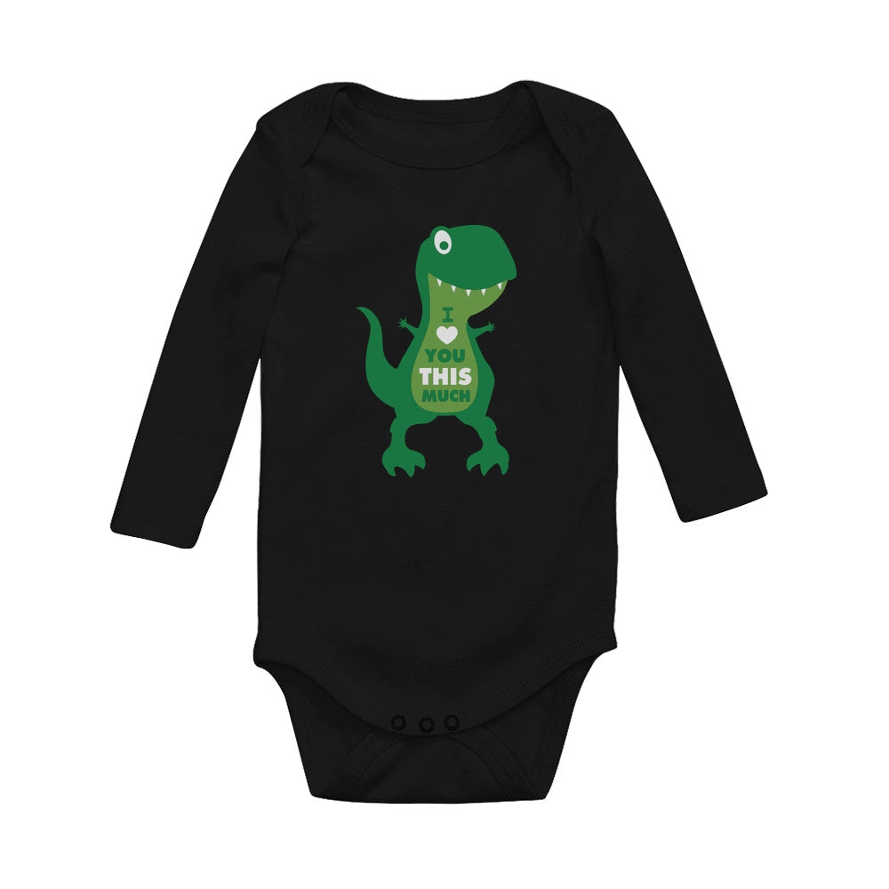 Valentine's Day Gift I Love You This Much T-Rex Raptor Baby Long Sleeve Bodysuit