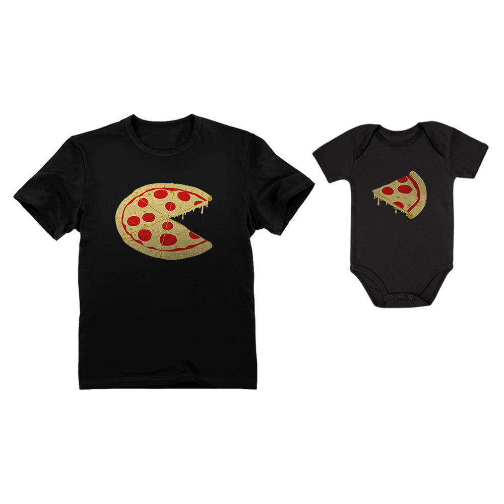 Pizza Pie & Slice Baby Bodysuit & Men's T-Shirt Matching Dad & Baby Set