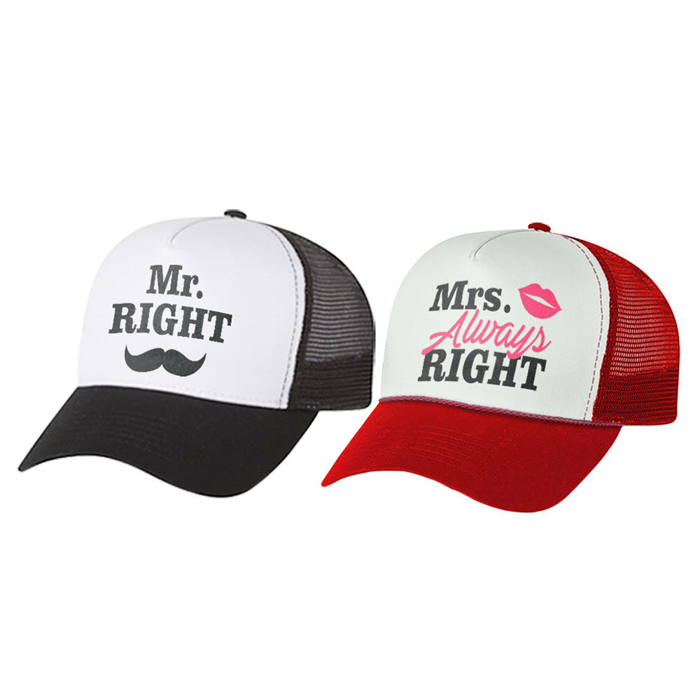 Mr. Right & Mrs. Always Right Matching Couple Mesh Caps Valentine's Day Gift Set