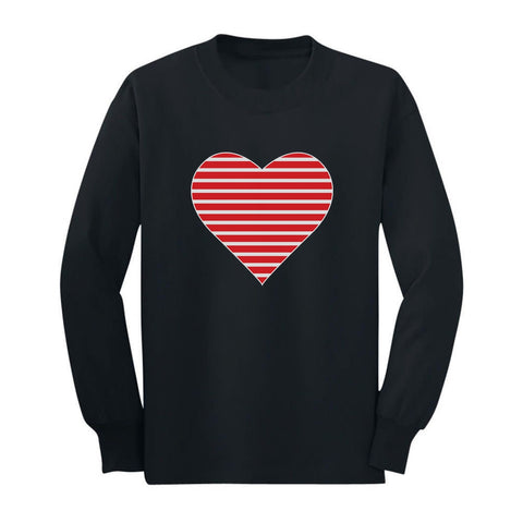 Tstars tshirts Red Striped Heart Love - Valentine's Day Gift Toddler/Kids Long sleeve T-Shirt