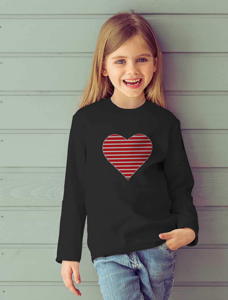 Red Striped Heart Love - Valentine's Day Gift Toddler Kids Long sleeve T-Shirt