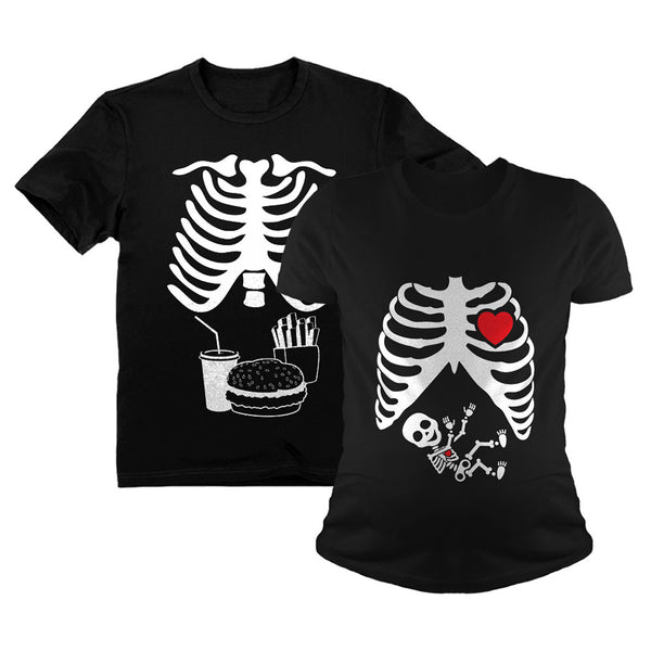 Tstars tshirts Halloween Skeleton Maternity Tee Baby Boy X-Ray Matching Couple Set Burger Tee