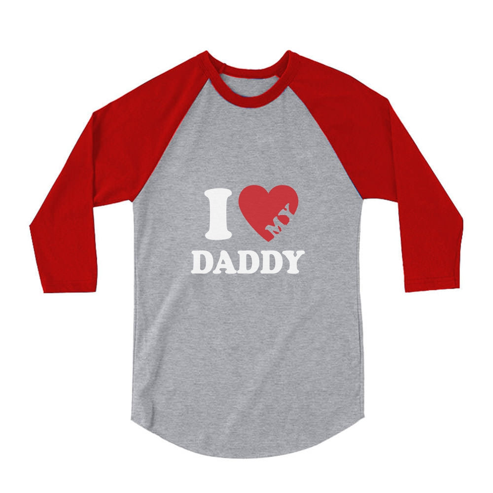 Fathers Day Gift Idea I Heart Love My Daddy 3/4 Sleeve Baseball Jersey Toddler Shirt