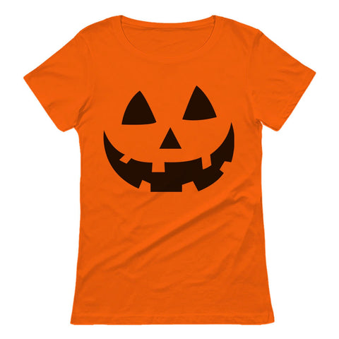 Tstars tshirts Halloween Pumpkin Face - Easy Costume Fun Smiling Head Women T-Shirt