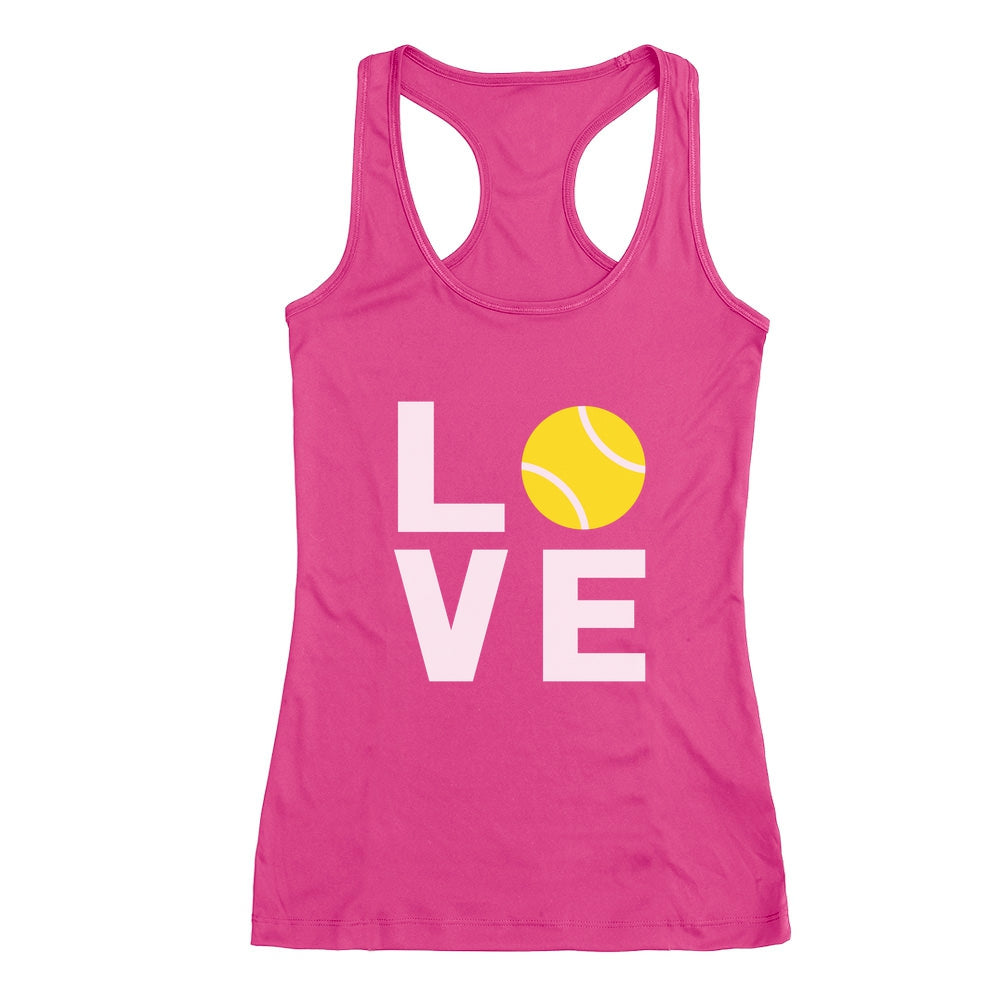 Love Tennis - Gift Idea for Tennis Fans Novelty Racerback Tank Top