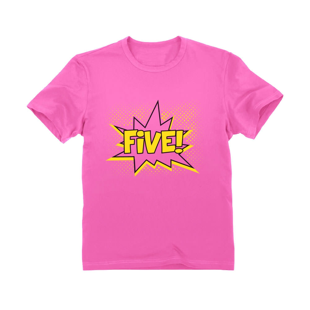 FIVE! Fifth Birthday - 5 Years Old Gift Idea Superhero Youth T-Shirt