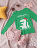 Ugly Christmas Sweater Big Trex Santa - Children Funny Youth Kids Long Sleeve T-Shirt