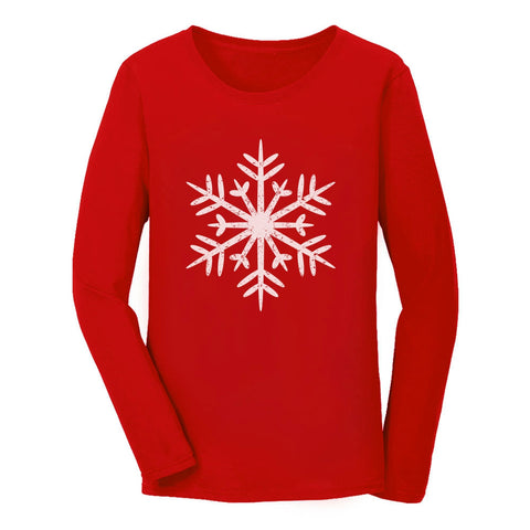 Tstars tshirts Big White Snowflakes Christmas Gift Xmas Women Long Sleeve T-Shirt