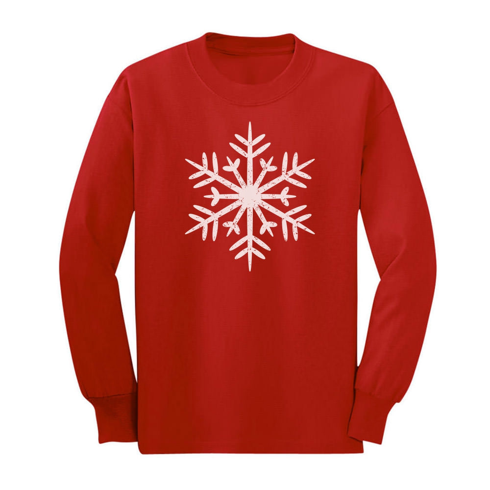 Big White Snowflakes Children's Christmas Gift Youth Kids Long Sleeve T-Shirt