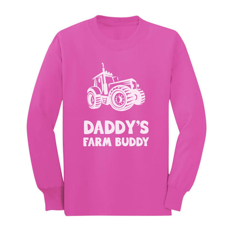 Tstars tshirts Daddy's Farm Buddy - Gift For Farmers Children Funny Toddler/Kids Long sleeve T-Shirt