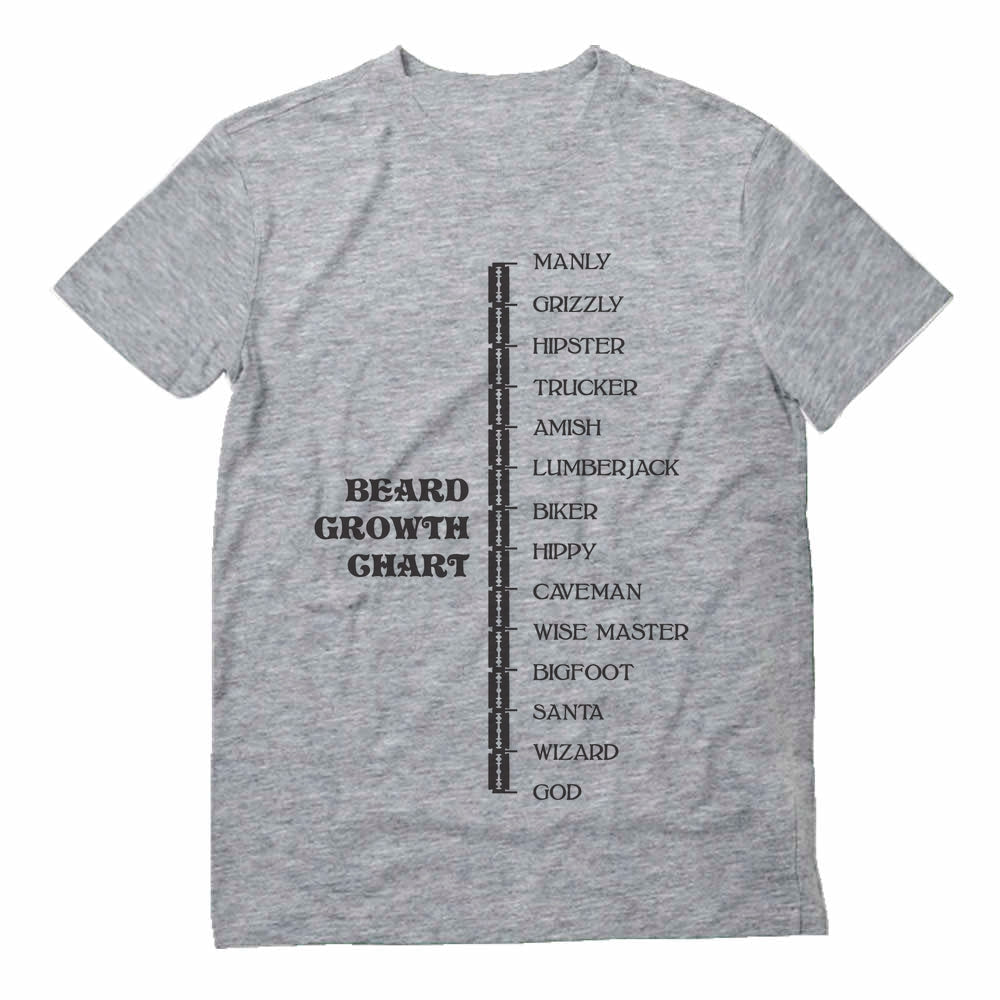 Beard Growth Chart Gift Idea - Funny Manly - God Scale T-Shirt