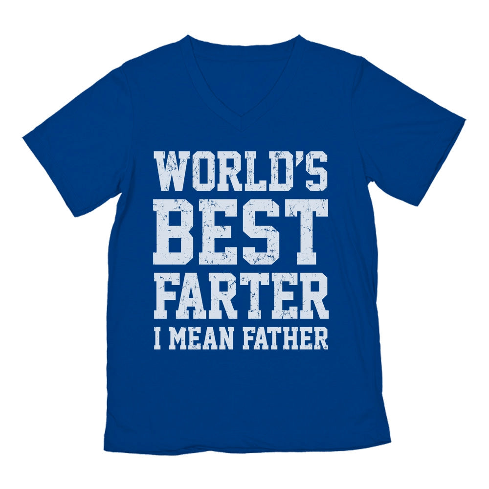 Worlds Greatest Farter, I Mean Father Gift For Dads V-Neck T-Shirt