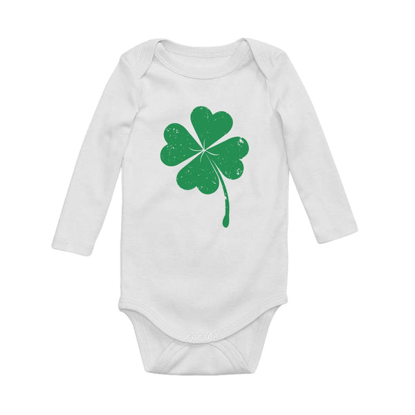 Tstars tshirts Faded Shamrock Green Clover Baby Long Sleeve Bodysuit