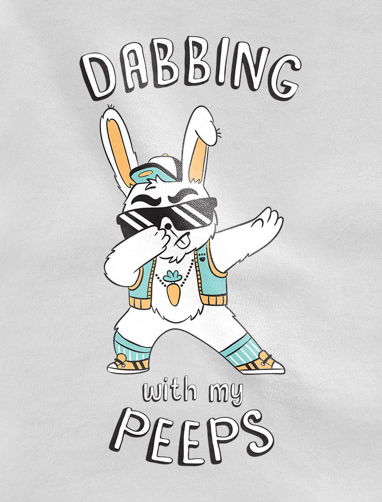 Dabbing With My Peeps Easter Bunny Toddler Kids Girls' Fitted T-Shirt