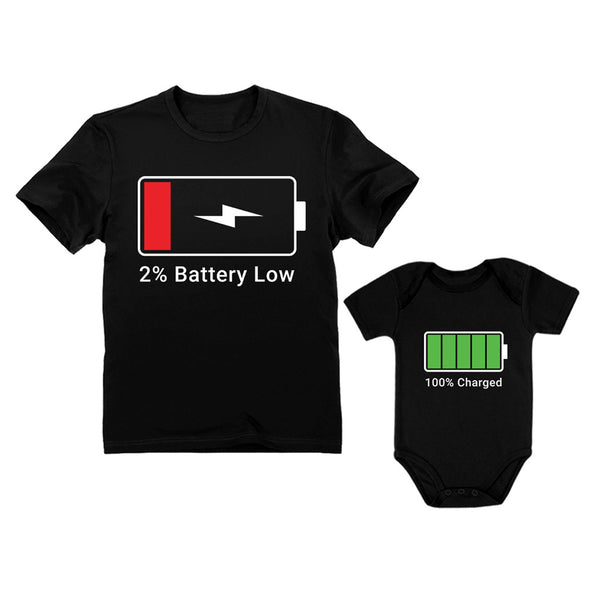 Tstars tshirts 100% Charged and Low Battery Baby Bodysuit & Men's T-Shirt Funny Matching Set