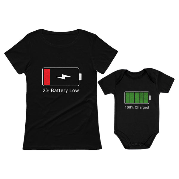 Tstars tshirts 100% Charged and Low Battery Baby Bodysuit & Women's T-Shirt Funny Matching Set