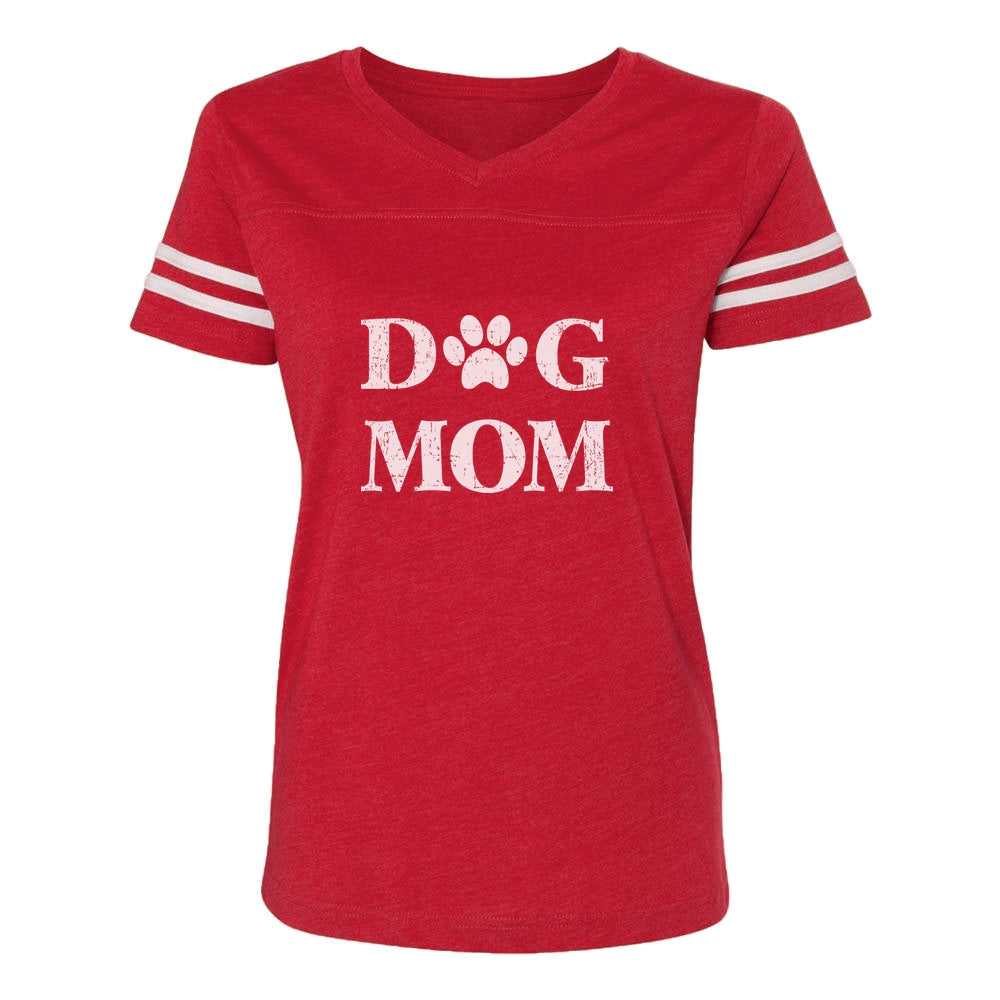 Dog Mom Women Football Jersey T-Shirt - red/white