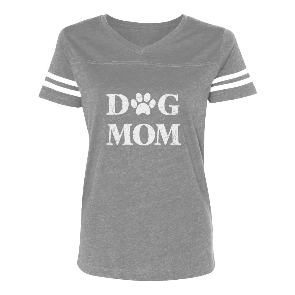 Dog Mom Women Football Jersey T-Shirt - gray/white