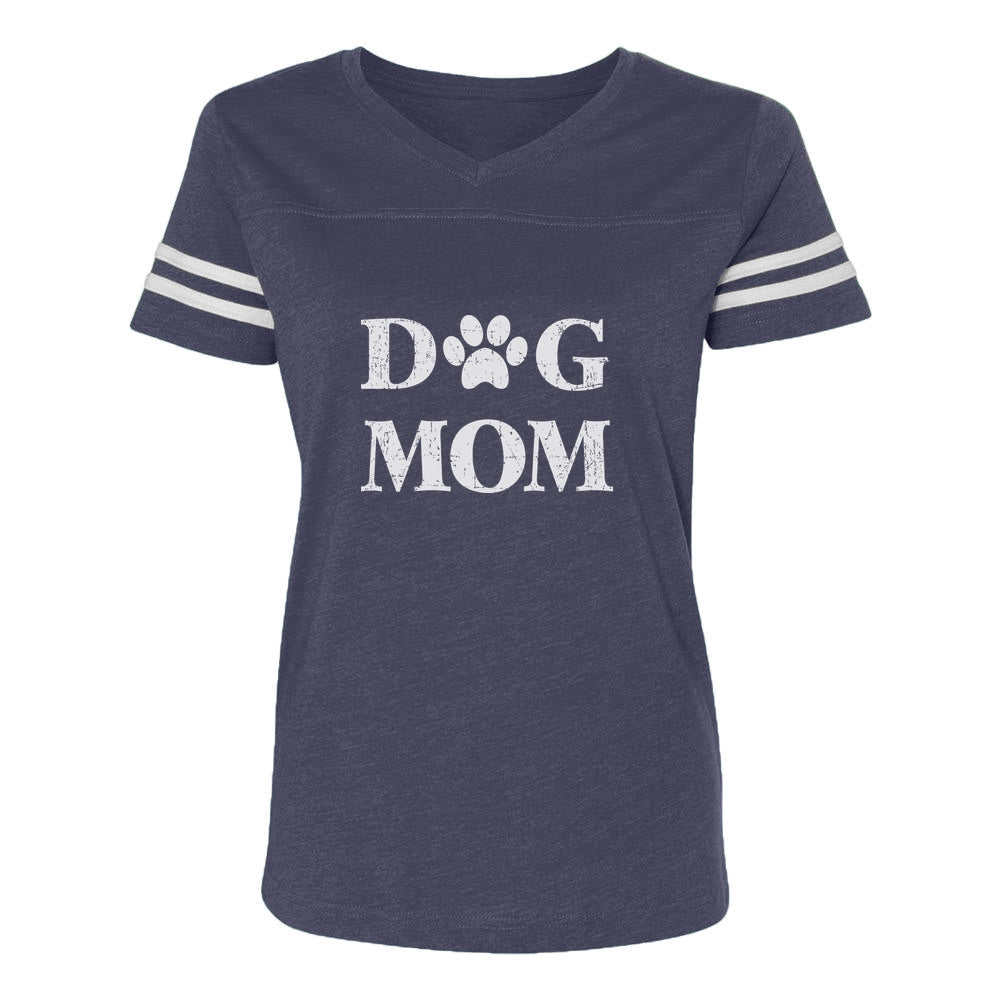 Dog Mom Women Football Jersey T-Shirt - navy/white
