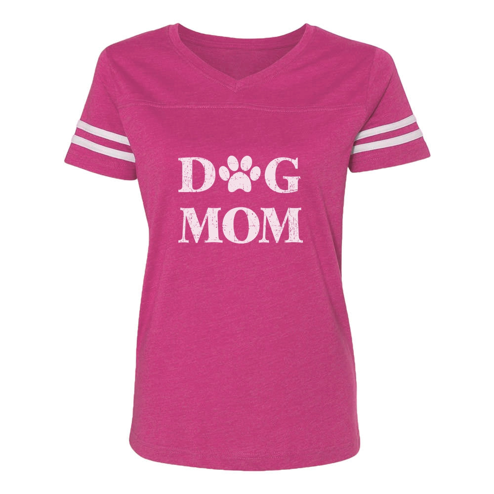 Dog Mom Women Football Jersey T-Shirt - pink/white