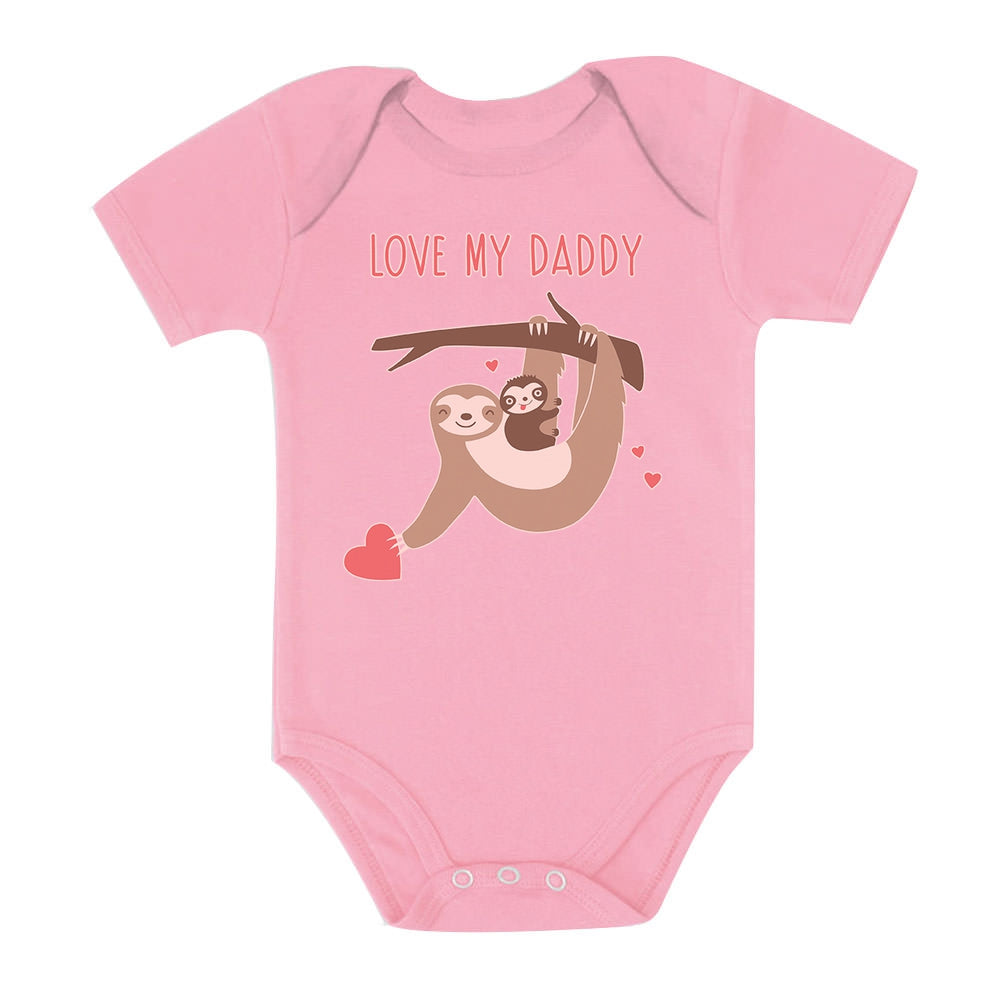 Love My Daddy Sloth Baby Bodysuit - Pink