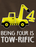 Being 4 Is Tow-Rific Birthday Gift Toddler Hoodie