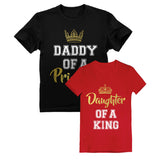 Father & Daughter King Father's Day Gift Dad & Toddle Girl T-Shirts Matching Set