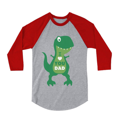 Tstars tshirts I Love You Dad T-Rex Hug 3/4 Sleeve Baseball Jersey Toddler Shirt