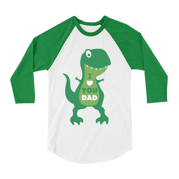 Tstars tshirts I Love You Dad T-Rex Hug Toddler Raglan 3/4 Sleeve Baseball Tee