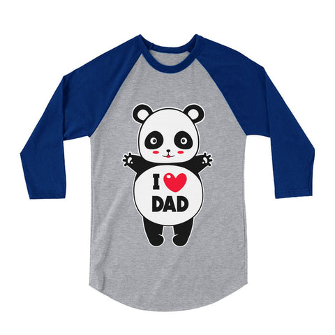 Tstars tshirts I Love Dad Panda Hug 3/4 Sleeve Baseball Jersey Toddler Shirt