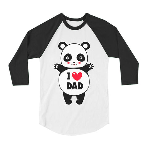 Tstars tshirts I Love Dad Panda Hug Toddler Raglan 3/4 Sleeve Baseball Tee