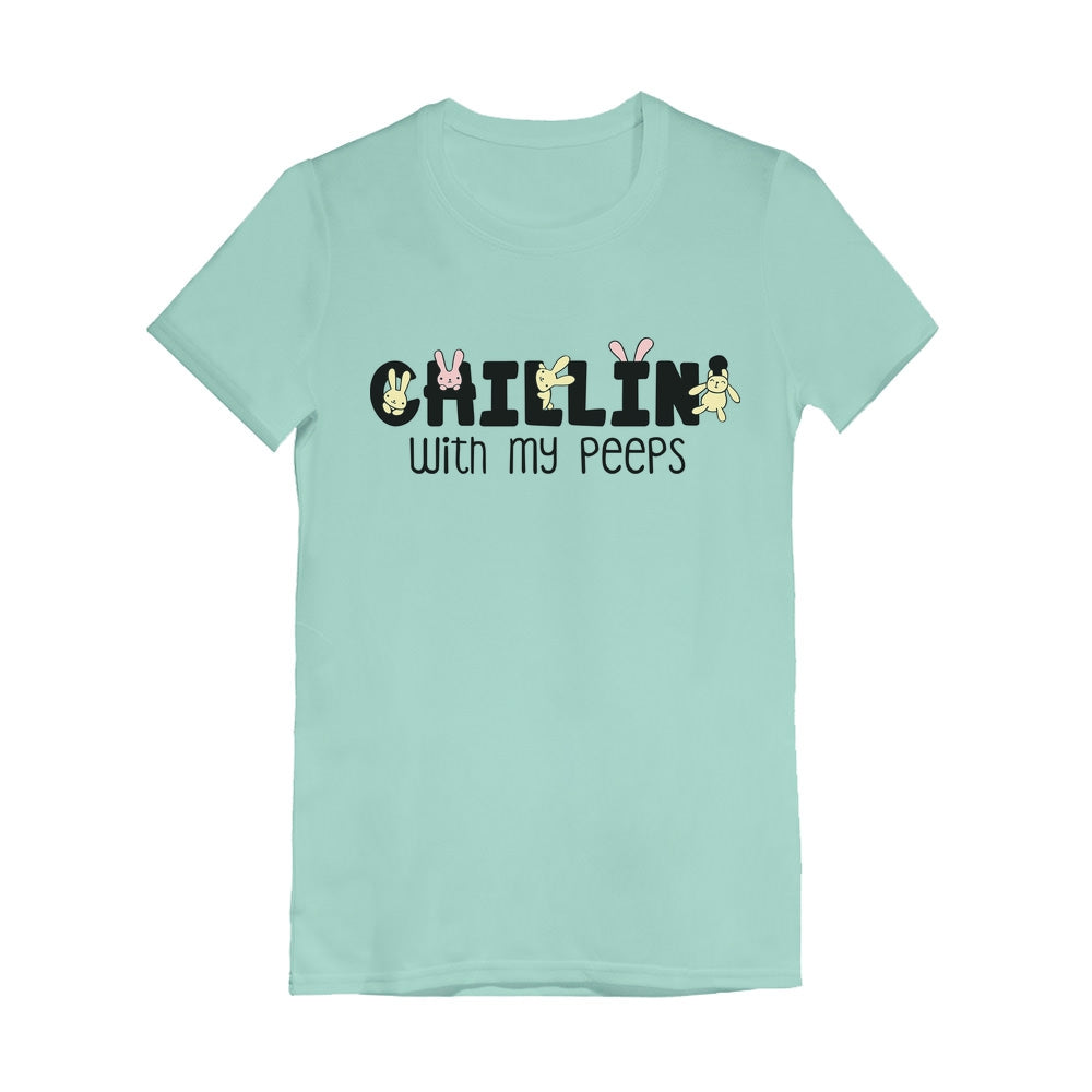 Happy Easter Chillin' My Peeps Easter Toddler Kids Girls' Fitted T-Shirt