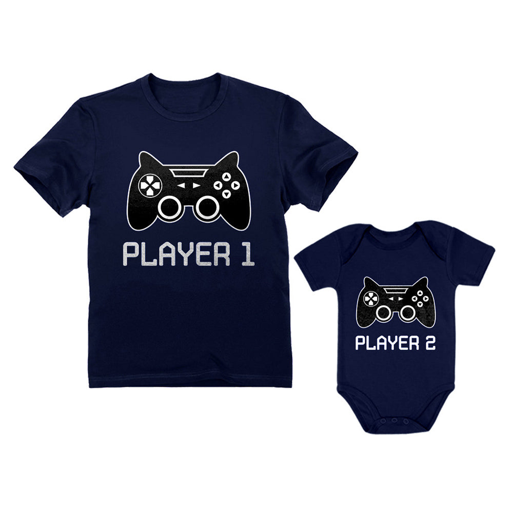 Gamer Shirts For Father & Son / Daughter Player 1 Player 2 Men Tee Baby Bodysuit