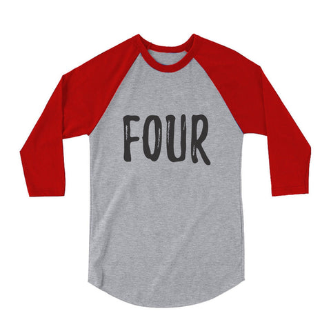Tstars tshirts Four Year Old Birthday 3/4 Sleeve Baseball Jersey Toddler Shirt