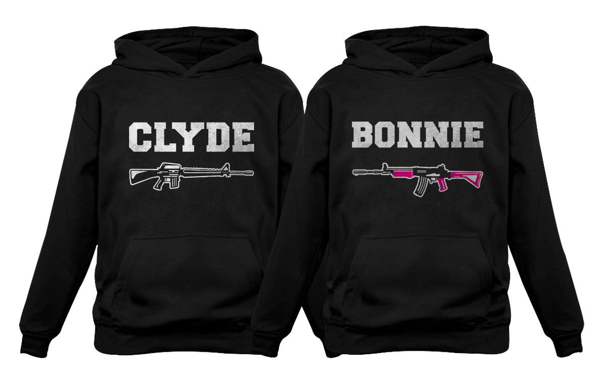 Bonnie & Clyde Him & Her Matching Couples Hoodies