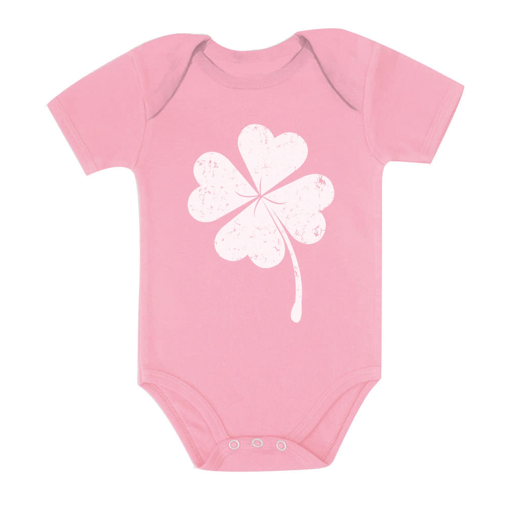Cute Shamrock St. Patrick's Day Faded Clover Baby Bodysuit - Pink