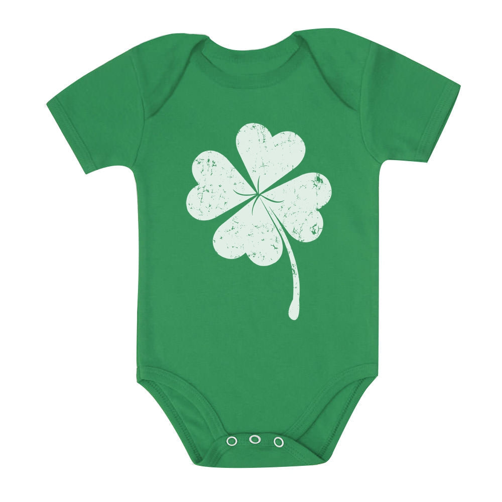 Cute Shamrock St. Patrick's Day Faded Clover Baby Bodysuit - Green