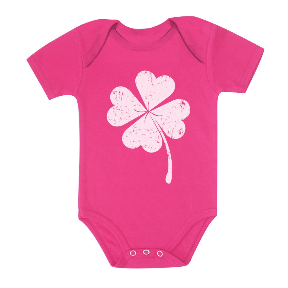 Cute Shamrock St. Patrick's Day Faded Clover Baby Bodysuit - Wow pink