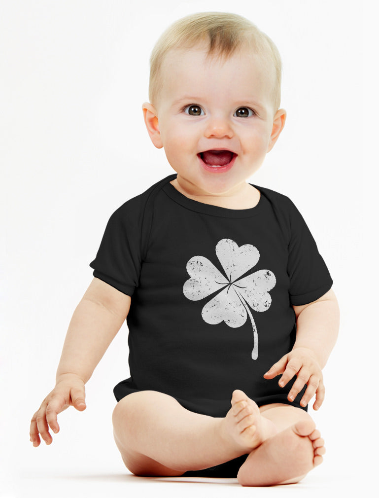 Cute Shamrock St. Patrick's Day Faded Clover Baby Bodysuit - Navy
