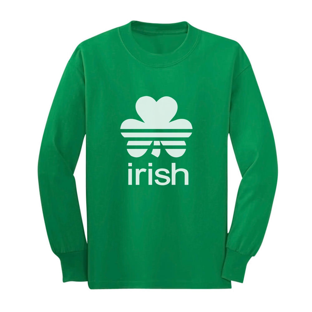 Cute Irish Clover St. Patrick's Day Shamrock Youth Kids Long Sleeve T-Shirt - Green