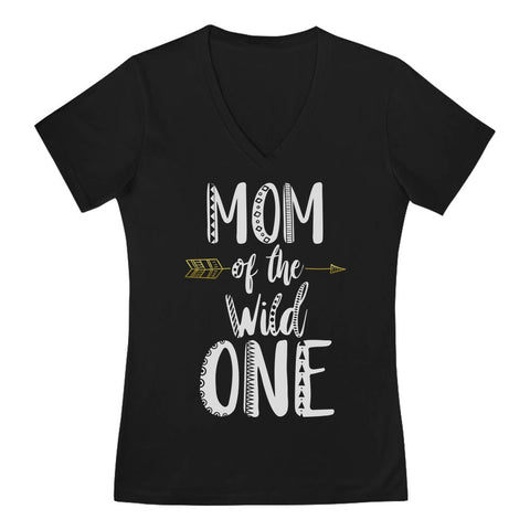 Tstars tshirts Mom Of The Wild One V-Neck Fitted Women T-Shirt